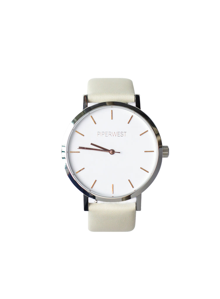 Vegan Duo Minimalist 42mm Timepiece in Silver/Rose Gold