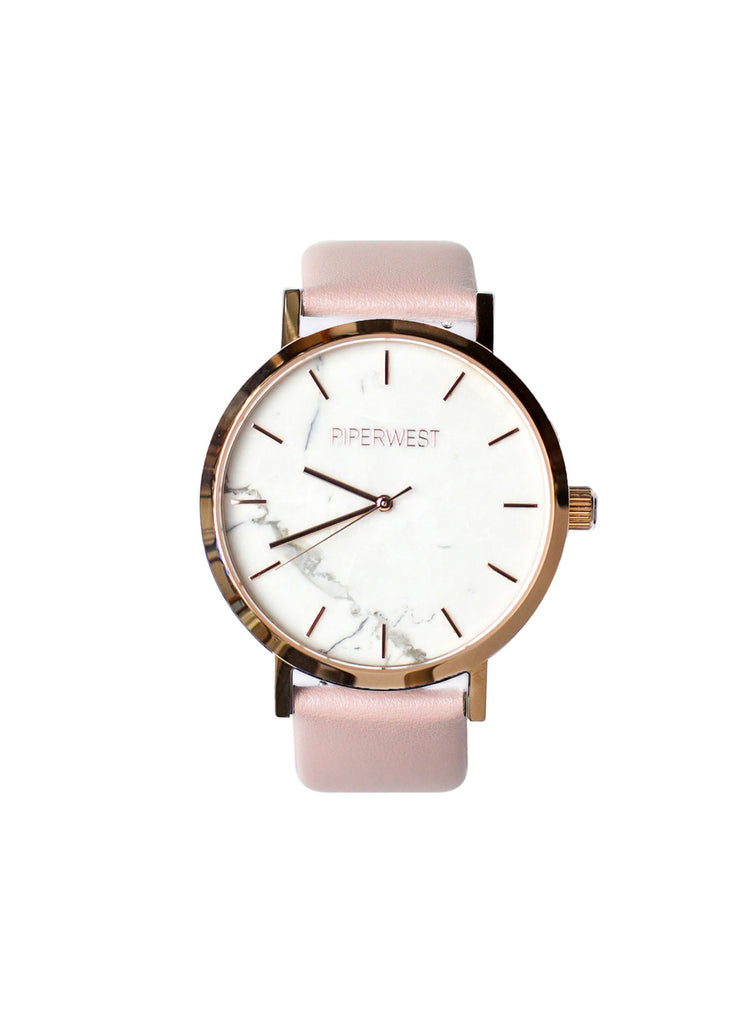 Vegan Marble Minimalist 42mm Timepiece in Rose Gold