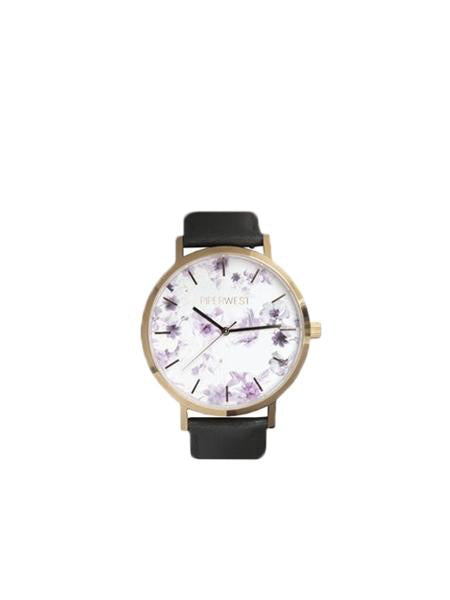 Floral Mini Minimalist 32mm Timepiece in Rose Gold / Charcoal