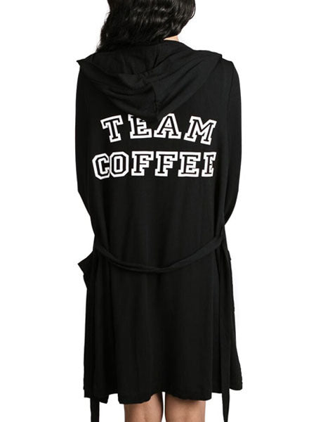 Team Coffee Hooded Robe in Black/White