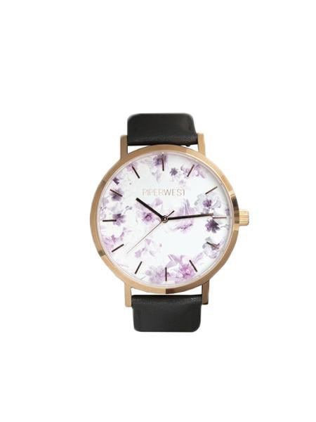 Floral Minimalist 42mm Timepiece in Rose Gold / Charcoal