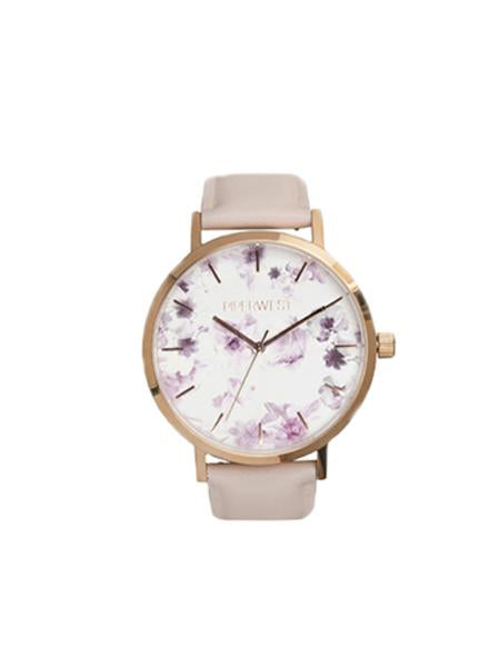 Floral Minimalist 42mm Timepiece in Rose Gold / Lilac