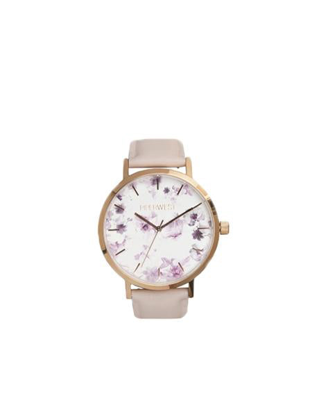 Floral Mini Minimalist 32mm Timepiece in Rose Gold / Lilac
