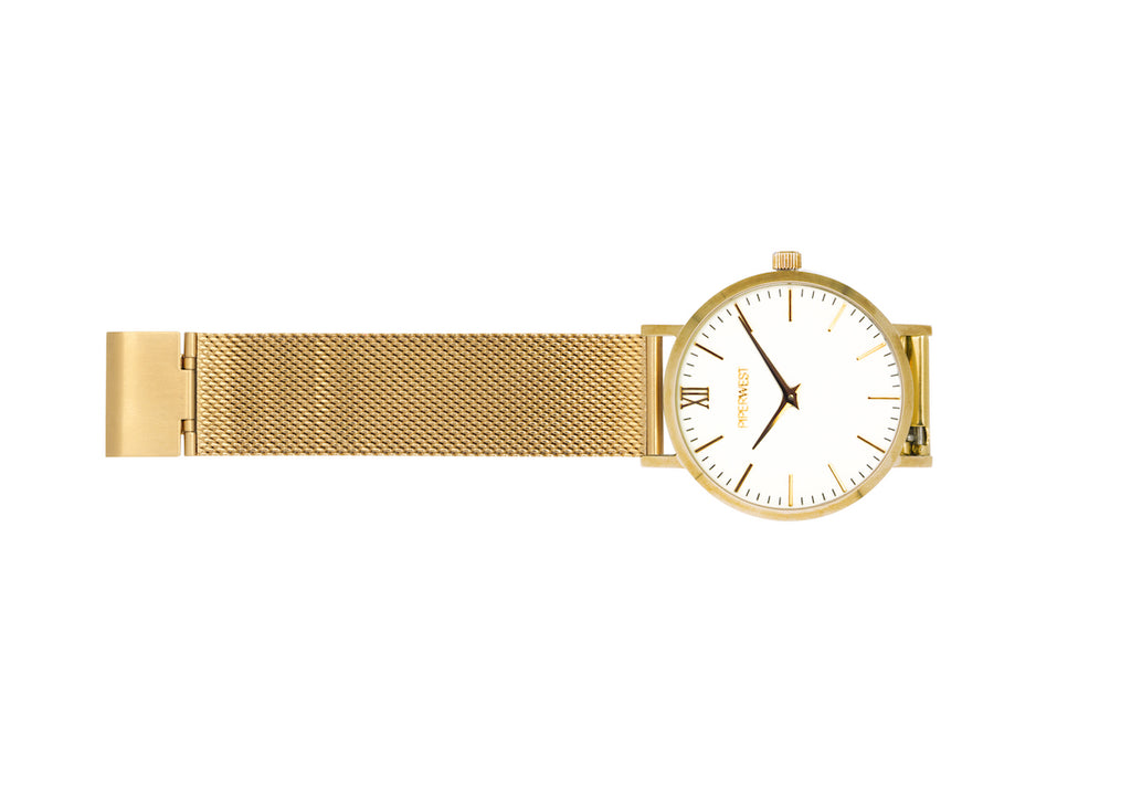 Mesh Minimalist 42mm Timepiece in Gold