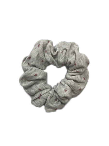 Sweetheart Print Scrunchie In Grey/Blush