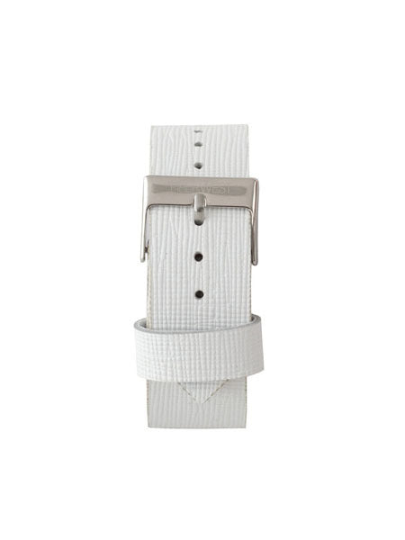 Leather Strap in White Saffiano/Silver