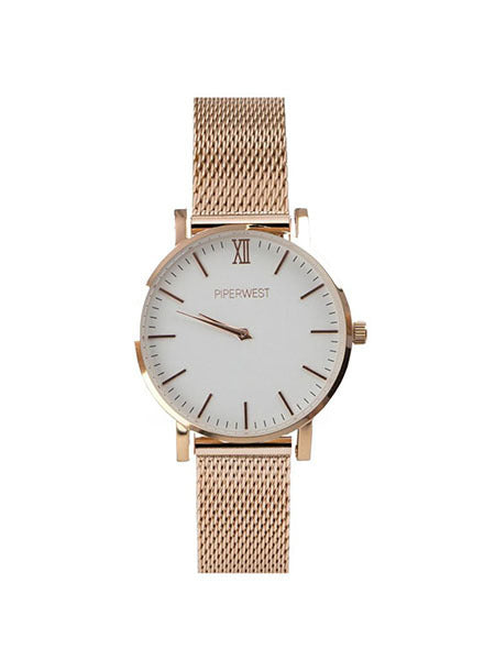 Mini Mesh Minimalist 32mm Timepiece in Rose Gold