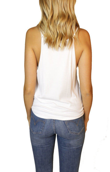 Habitual Ribbed High Neck Bib Tank in White