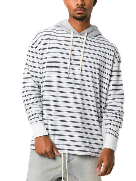 Channel Rugger Hooded Long Sleeve Tee In Black/White