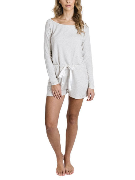 Social Long Sleeve Romper in Grey