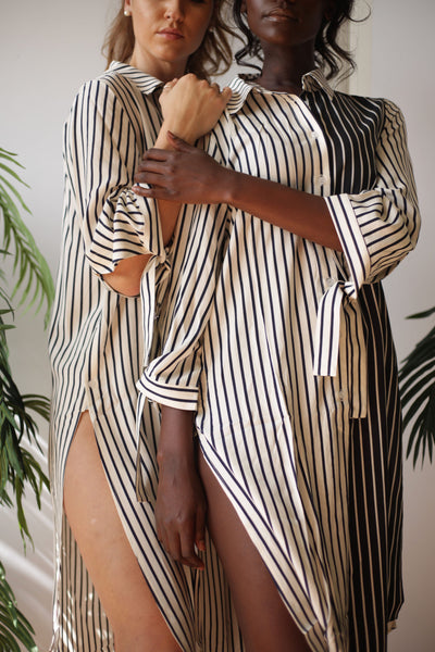 Striped Contrast Tunic Dress