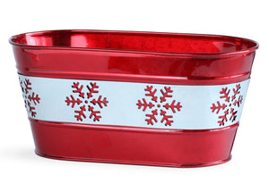 Oval Red Snowflake Metal Planter