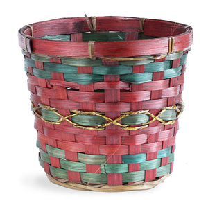Round Red and Green Bamboo Basket