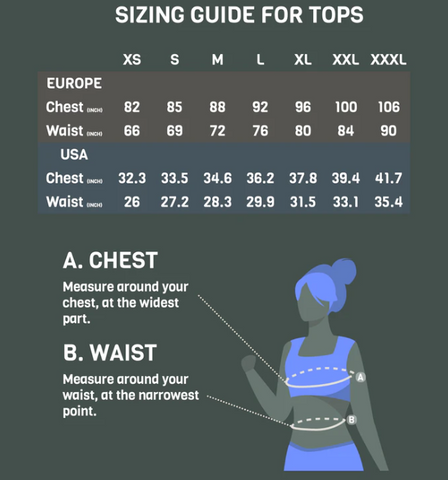 Tripulse sizing guide for all tops