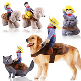 Funny Dog Costume Cowboy Rider - [dog_momma_treats]