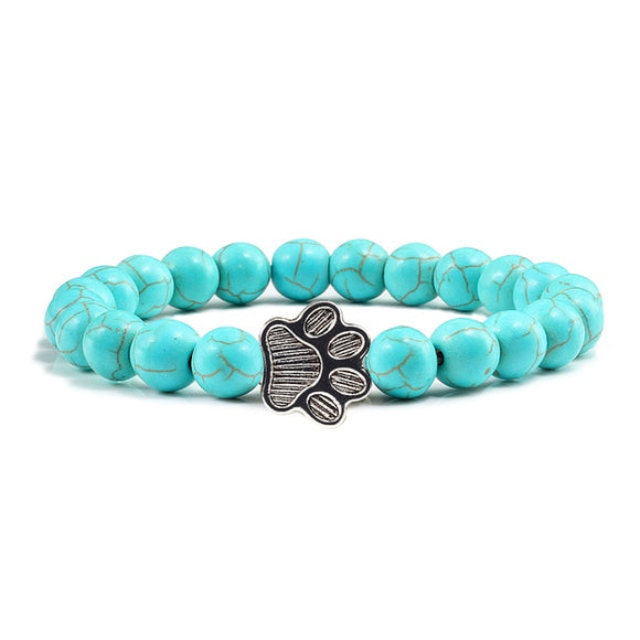 Natural Stone Dog Paw Print Charm Bracelet - [dog_momma_treats]