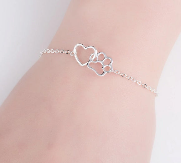 Graceful Entwined Dog Paw and Heart Bracelet - [dog_momma_treats]