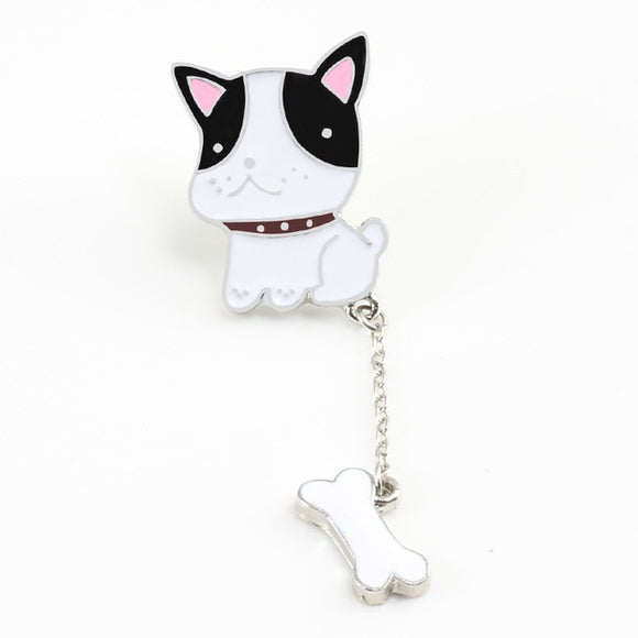 Adorable Metal Enamel Dog and Bone Pin - [dog_momma_treats]