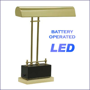Battery Operated LED Piano Lamp Black with Brass