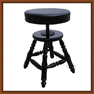 Adjustable Height Piano Stool - Polished Ebony Finish (H101-PE)