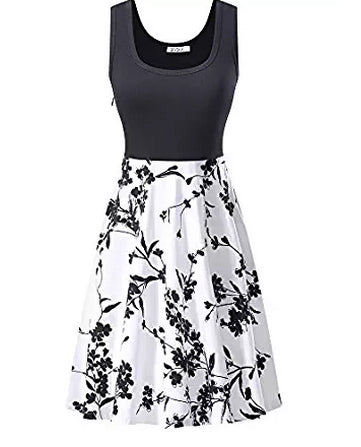 MISSKY Women Vintage Scoop Neck Sleeveless A-line Sexy Cocktail Party Dress