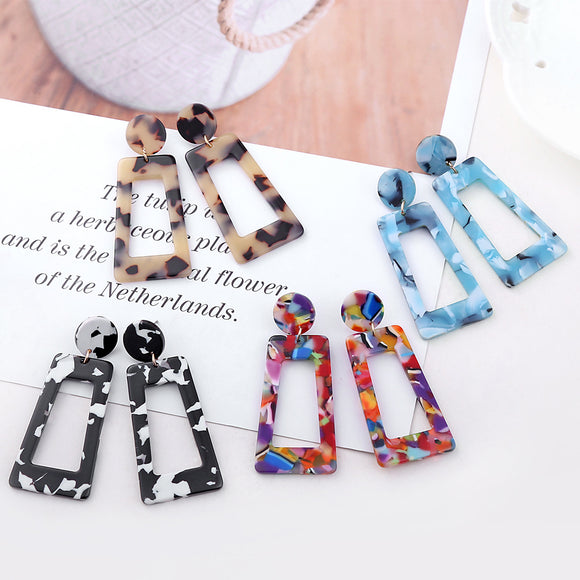 fashion exaggerated earrings geometric strips multi-color earrings