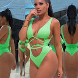 Women Sexy V-neck Solid Color One-piece Bikini for Swimming green