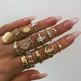 15Pcs/Set Retro Style Portrait Coin Crucifix Diamante Loving Heart Joint Rings Jewelry Set