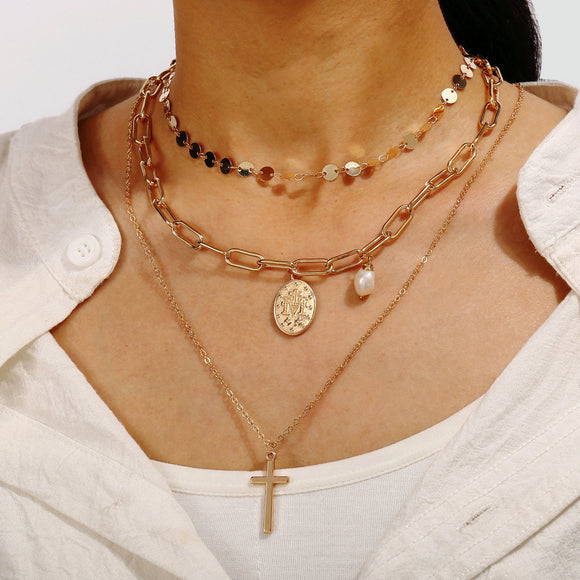 Unisex Multilayer Necklace Retro Neck Decoration Cross-Shaped Pendant Europe and America Style Three-layer Sweater Chain