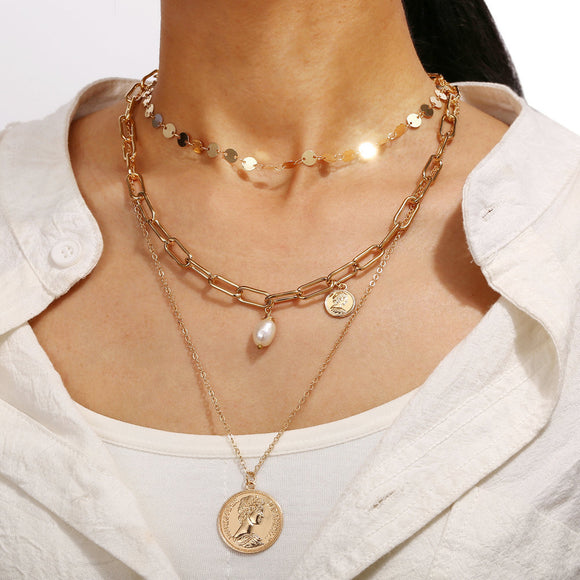 Multi-layer Necklace Retro Three-layer Clavicle Decoration Europe and America Style Pearl Pendant Sweater chain