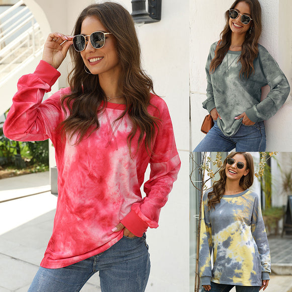 Women Autumn Round Neck Casual Loose Long-sleeved Bat Sleeve Tie Dyed Sweater Top