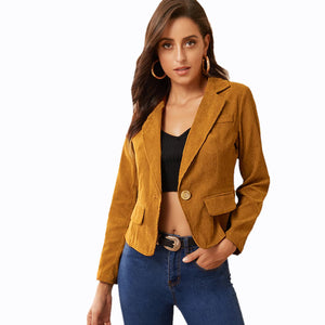 Corduroy Commuting Slim Suit Jacket Female Thin Top