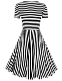 Solemay Women' Stripe Slim Fit O-Neck Short Sleeve Casual Knee-length A-line Dress
