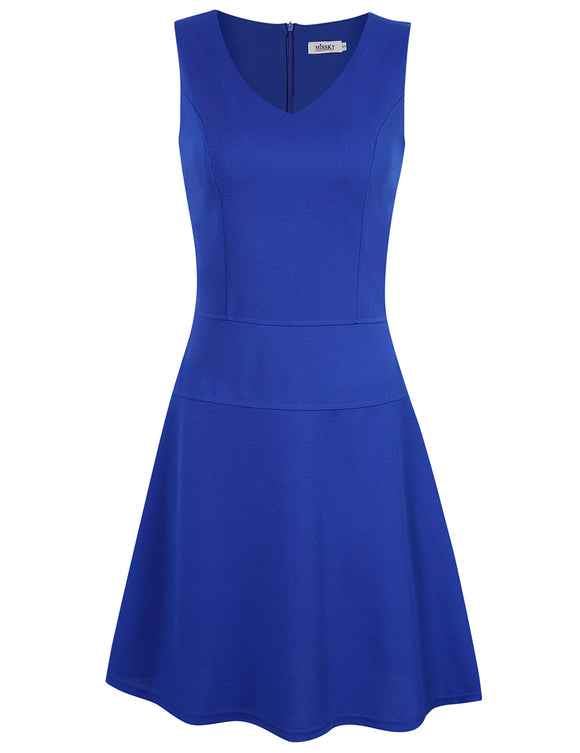 Missky Sleeveless V-neck Flare Swing Casual A-line Dress
