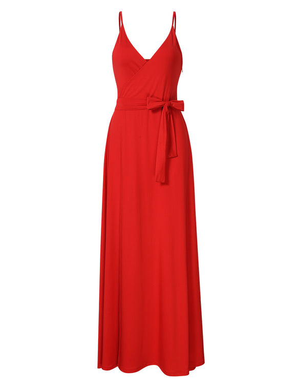 GlorySunshine Women Wrap V-neck Sleeveless Spaghetti Strap Formal Slit Maxi Dress