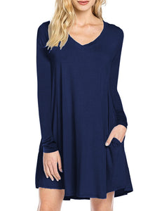 Leadingstar Women's Long Sleeve V-neck Swing Pocket Casual T-shirt Dress