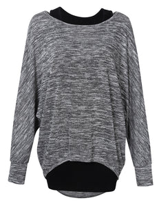 Kojooin Women's Casual Baggy T Shirt Batwing Sleeve Pullover Loose Knits Tops Two Pieces Set- Dark grey