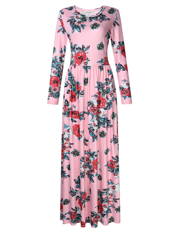 Leadingstar Women Casual Floral Print Long Sleeve Party Maxi Boho Dresses