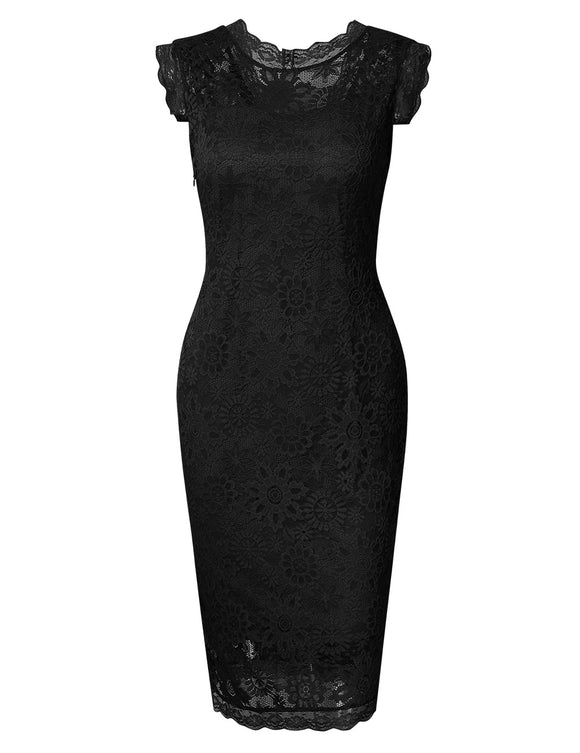 HIQUEEN Women's Slim Sleeveless Elegant Floral Lace Cocktail Evening Dress