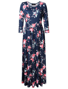 AMZ PLUS Women Plus Size 3/4 Sleeve Floral Print Casual Maxi Dress with Pockets