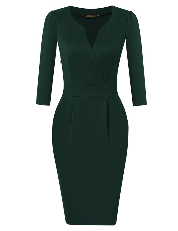 HiQueen Women Vintage V-neck Office Work Business Party Bodycon Pencil Dress