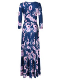 Leadingstar Women's 3/4 Sleeve V-Neck Floral Print Boho Maxi Wrap Dress