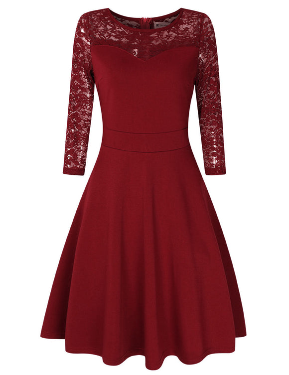 VeryAnn Women A Line Cocktail Dress Empire Lace Fit and Flare Dress