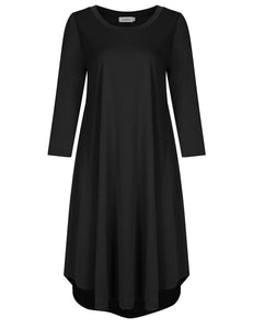 Clearlove Women Plus Size Scoop Neck 3/4 Sleeve Loose Fit Casual Swing Midi Dress