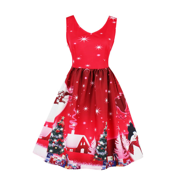 Women Christmas Sleeveless Printing Dress Elegant Sexy V Neck Dresses- Wine red hut