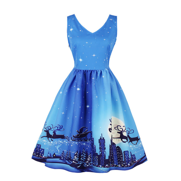 Women Christmas Sleeveless Printing Dress Elegant Sexy V Neck Dresses- Light blue city