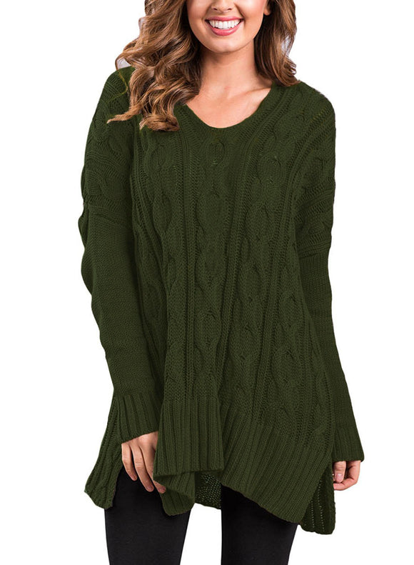 Womens Casual V-Neck Long Sleeve Loose Knit Sweater Jumper Pullover Tops