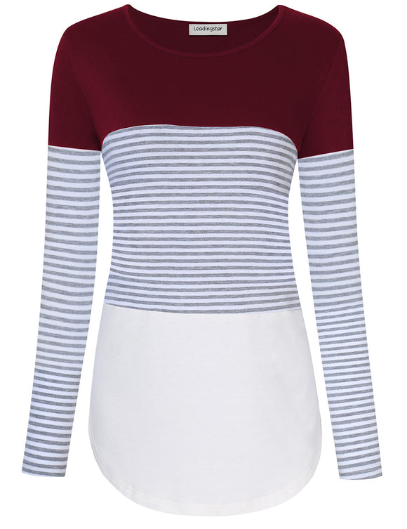 Leadingstar Women Scoop Neck Color Block Stripe Casual Long Sleeve T Shirt Tops