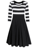 HiQueen Women Casual Scoop Neck 3/4 Sleeve A-Line Swing Dress Stripe Modest Dresses-Black
