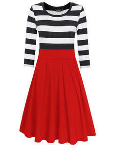 HiQueen Women Casual Scoop Neck 3/4 Sleeve A-Line Swing Dress Stripe Modest Dresses-Red